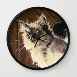 The Magnificent Ascent of the Mighty Bear Detail (Ragdoll Kitten) Wall Clock