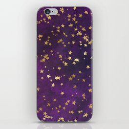 Dark Purple Gold Stars iPhone Skin