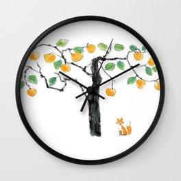 A Fox under the Orange Tree Wall Clock