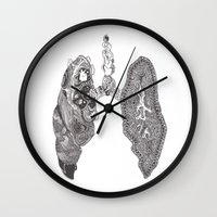 lungs Wall Clocks featuring Lungs by Alexander.Leake