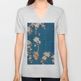 Wonderful Japanese Art - Hokusai, Cherry Blossoms Unisex V-Neck