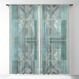 Stained Glass Watercolor Marble Mineral Design Turquoise Teal Gold Sheer Curtain