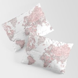 Dusty pink and grey detailed watercolor world map Pillow Sham