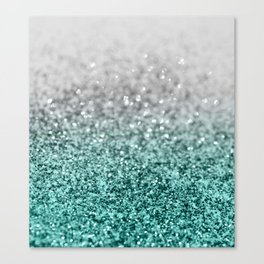 Silver Teal Ocean Glitter Glam #1 #shiny #decor #art #society6 Canvas Print