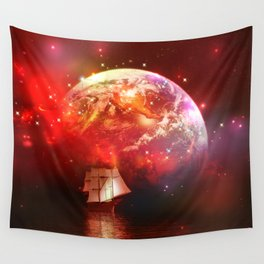 Segelboot im Universum Wall Tapestry