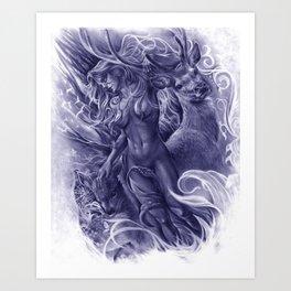 The Fawn (Blue Version) Art Print