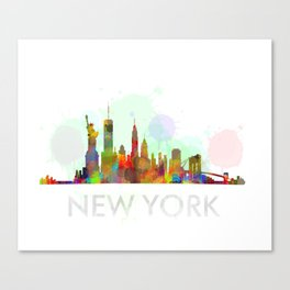 NY-New York Skyline HQ Watercolor Canvas Print