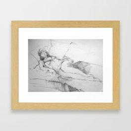 On the Couch Far Away Framed Art Print