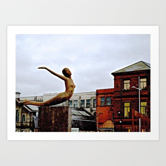 She Flies Across Belfast Art Print