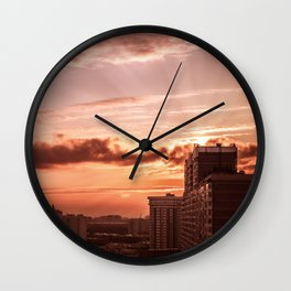 Dawn in the city V2 Wall Clock