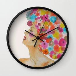camelia in black Wall Clock
