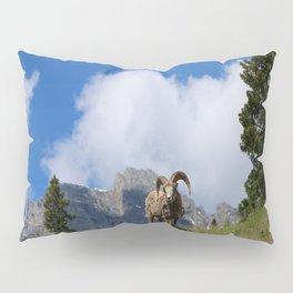 Ram Against Mountain Backdrop Pillow Sham