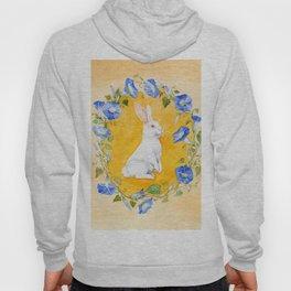 White Rabbit in Blue Flowers Hoody