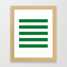 La Salle green - solid color - white stripes pattern Framed Art Print