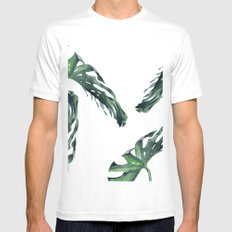 Tropics Palm Leaves Green Mens Fitted Tee MEDIUM White