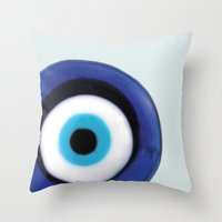 evil eye Throw Pillows featuring Evil Eye by SalbyN