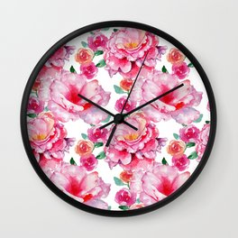 Hand painted hot pink white watercolor floral Wall Clock