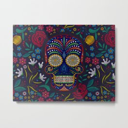 Rubino Floral Skull Metal Print