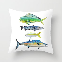 Caribbean Fish Throw Pillow