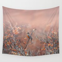 robin Wall Tapestries featuring robin by RasaOm