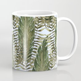 topical leaves in blue background Coffee Mug