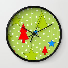 Christmas Trees and Stars Print with Polka Dot Background Wall Clock