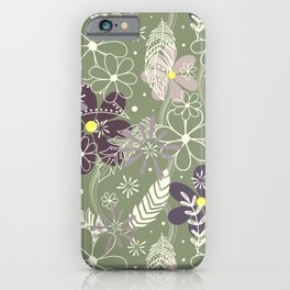plum purple sage doodle feathers and flowers iPhone Case