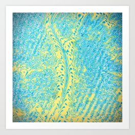 Yellow Fluid Effect Art Print