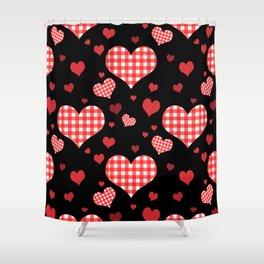 Red Gingham Hearts Shower Curtain