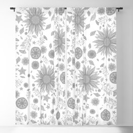Beautiful Flowers in Faded Gray Black and White Vintage Floral Design Blackout Curtain