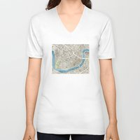 new orleans V-neck T-shirts featuring New Orleans City Map by Anne E. McGraw
