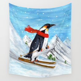Penguin Alpine Skiing Wall Tapestry