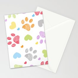 Doodle colorful paw prints with hearts seamless fabric design pattern vector Stationery Cards