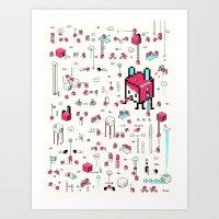 8bit Art Prints featuring 8bit Love by Elisa Sassi