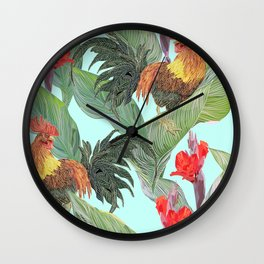 red fire roosters Wall Clock