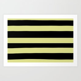 VA Lime Green - Lime Mousse - Bright Cactus Green - Celery Hand Drawn Fat Horizontal Lines on Black Art Print