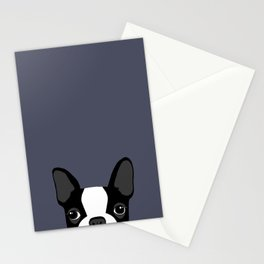 Boston Terrier Peek - Black On Navy Stationery Cards