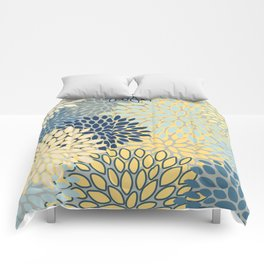 Floral Print, Yellow, Gray, Blue, Teal Comforters