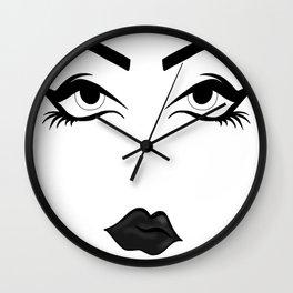 Winged Eyes, Dark Lips Wall Clock