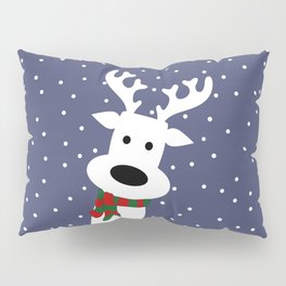 Reindeer in a snowy day (blue) Pillow Sham