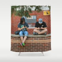 text Shower Curtains featuring Text Chat by IowaShots