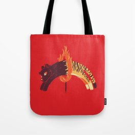 Pouncing Through Fire Tote Bag