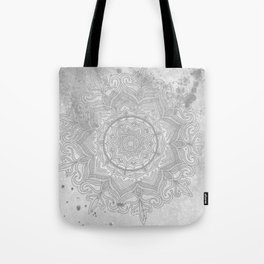 gray splash mandala swirl boho Tote Bag