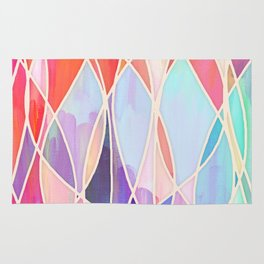 Purple & Peach Love - abstract painting in rainbow pastels Rug