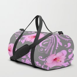 DECORATIVE  PINK AMARYLLIS BROCADE FLORAL GREY ART Duffle Bag