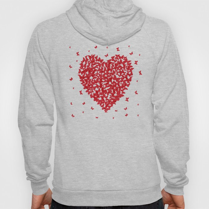 Heart - summer card design, red butterfly on white background Hoody