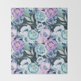 Dark Floral Spring Throw Blanket