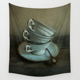 White teacups set Wall Tapestry