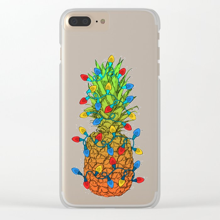 Pineapple Christmas Lights II Clear iPhone Case