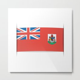 Flag of Bermuda. The slit in the paper with shadows. Metal Print